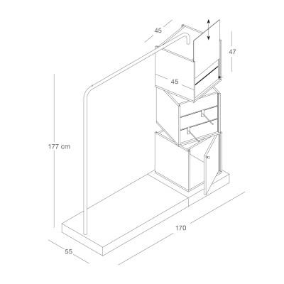 Mittelraum-Turm-schwenkbar mit Stange - glanz