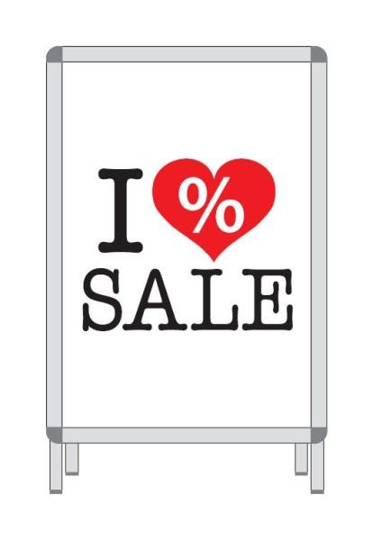 """Rahmenschild """"I LOVE SALE"""""""