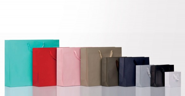 Papiertragetasche einfarbig mit Baumwoll-Kordel, 10 Stück
