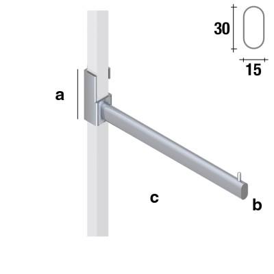 Gerader Abhängearm für 25x25mm Vierkantrohr