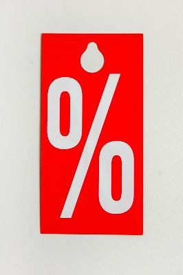 "Prozentanhänger ""%"" in rot, 25Stück"