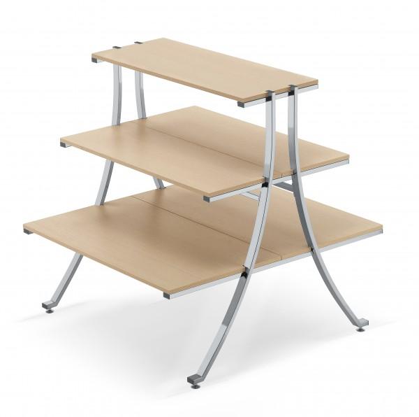 Stufentisch mit 3 Holzböden weiß