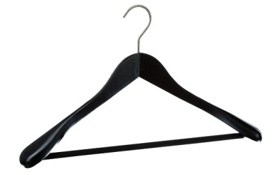 Holzkleiderbügel schwarz oder weiß lackiert,L 45cm (VE 25 Stück)