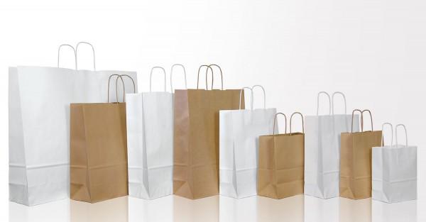 Papiertragetasche weiß oder natural mit Papierkordel, 10, 20 bzw. 25 Stück