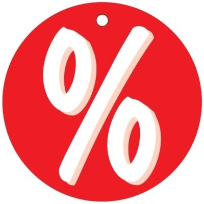 Aktionsetiketten aus Karton % , D=50mm