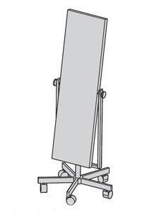 Standspiegel schwenkbar, Kristallspiegel 140x40cm, verchromt