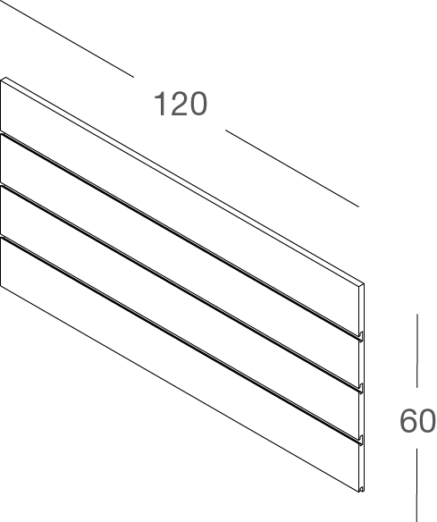 Lamellenwand BELLO 120x60cm - Komplett